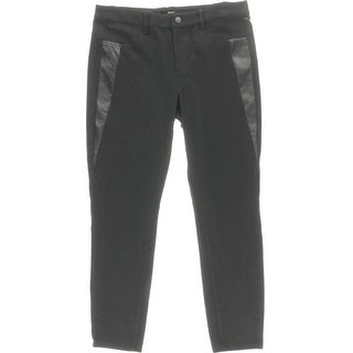 Aqua Womens Trouser Pants Faux Leather Trim Stretch