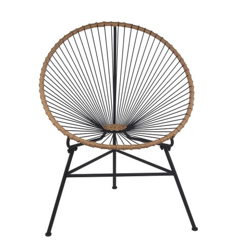 Black Metal Outdoor Chair with Rope Accents