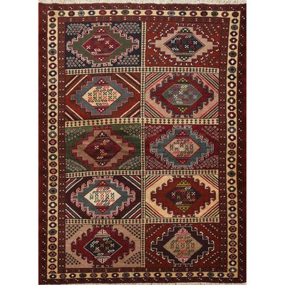 """Geometric Balouch Persian Wool Area Rug Hand-knotted Decorative Carpet - 4'1"""" x 5'3"""""""