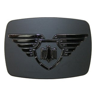 Chrome Winged Shield and Eagle Belt Buckle - Silver - One size