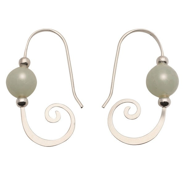 Women's Earrings - Amazonite Bead and Sterling Curl - French Hook - Silver - 1""