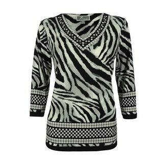 JM Collection Women's Studded Animal Print Tunic Top