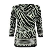 JM Collection Women's Studded Animal Print Tunic Top - checker zebra - ps