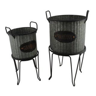 Rustic Round Galvanized Ribbed Metal 2 Piece Garden Planter and Stand Set