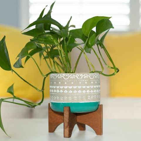 "Mid-Century Modern Planter 5"" Mayan Ceramic 2-Tone on Wood Stand"