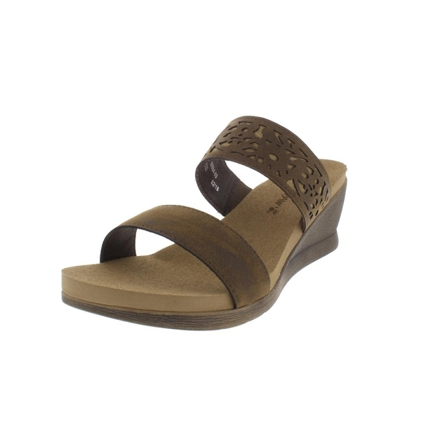 293d1412f Shop Bearpaw Womens Noelle Wedge Sandals Faux Leather Slides - Free ...