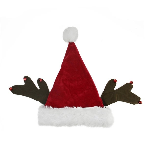 """17"""" Whimsical Santa Claus with Jingle Bell Reindeer Antlers Christmas Hat - RED"""
