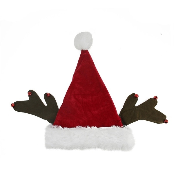 "17"" Whimsical Santa Claus with Jingle Bell Reindeer Antlers Christmas Hat"