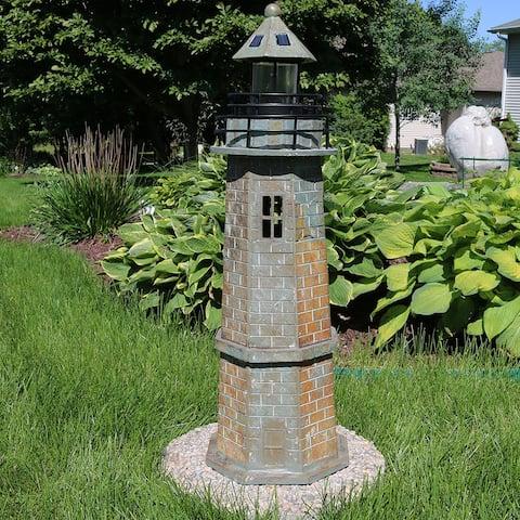 Sunnydaze Outdoor Patio or Garden Solar LED Lighthouse Statue Decor - 35-Inch