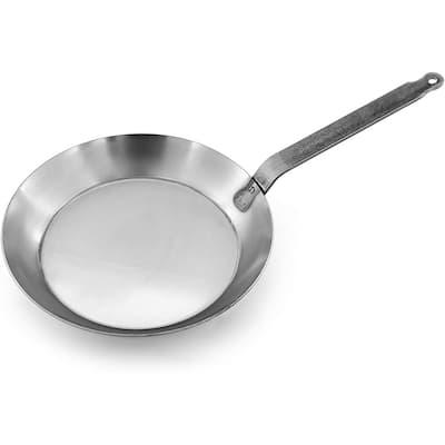 Matfer Bourgeat 062006 Black Steel Round Frying Pan, 12 5/8-Inch, Gray