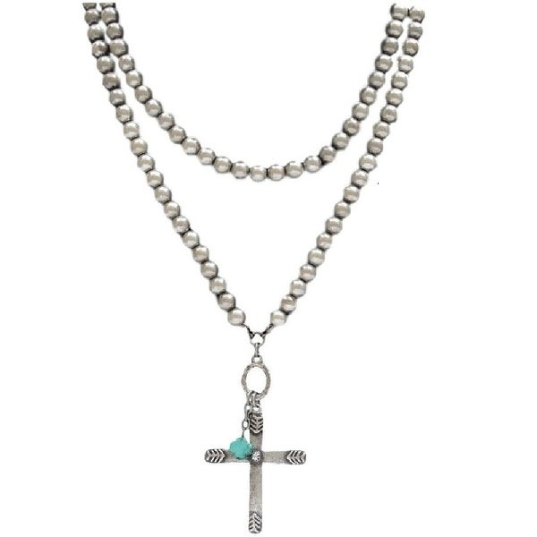 "LoulaBelle Jewelry Womens Necklace Cross Bead 39"" Silver Turq LN5521 - silver turquoise"
