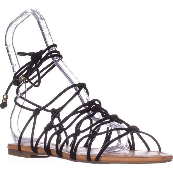 I35 Gallena Flat Lace-up Sandals, Black - 8.5 us
