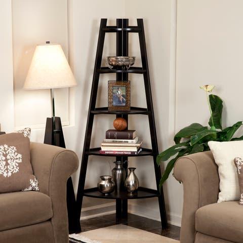 5-tier Espresso Corner Ladder Display Bookshelf