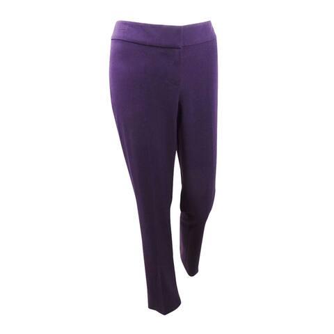 Nine West Women's Plus Size Stretch Trouser Pants - Eggplant