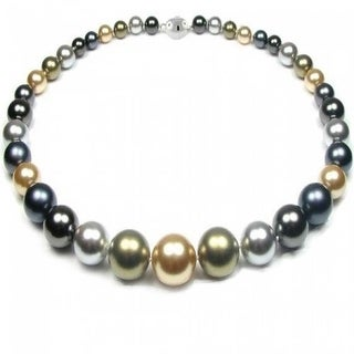 Bling Jewelry Multi Color Imitation Pearl Statement Necklace .925 Sterling Silver - Black