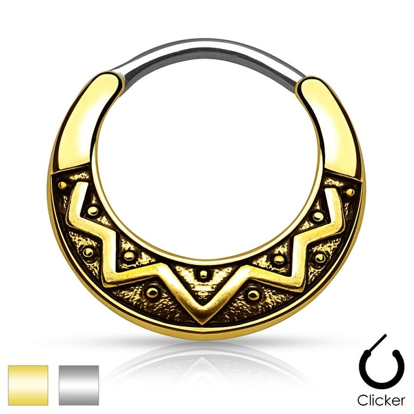 Tribal Fan Design Round 316L Surgical Steel Septum Clicker (Sold Ind.)