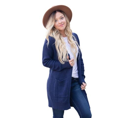 Women's Hooded Open-Front Knit Cardigan