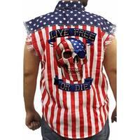 Men's Biker USA Flag Sleeveless Denim Shirt Live Free Or Die Skull Stars & Stripes