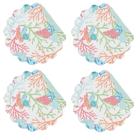 Caribbean Splash Shells Coral Round Quilted Placemats Set of 4 Kitchen or Dining