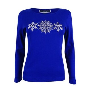 Karen Scott Women's Petite Embellished Snowflakes Graphic Top (P, Bright Blue) - Bright blue - pxs