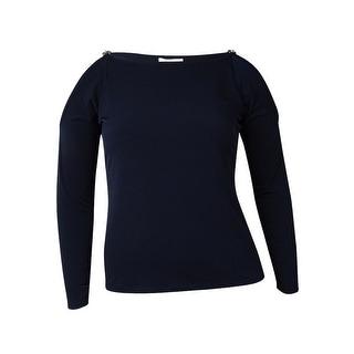 MICHAEL Michael Kors Women's Cold Shoulder Chain Trim Blouse