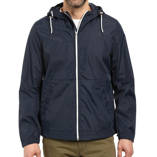 ff34fa0241f99c Shop Nautica NEW Navy Blue Mens Size XL Hooded Windbreaker Bomber ...