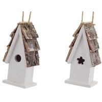 Pack of 12 Decorative White and Brown Birdhouse Ornament