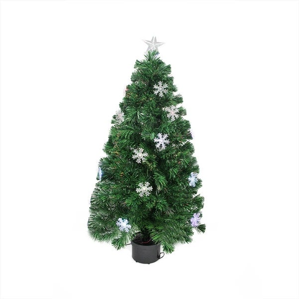 3' Pre-Lit Color Changing Fiber Optic Christmas Tree with Snowflakes - green
