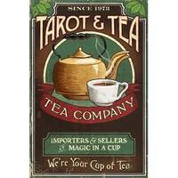 Tarot & Tea - Vintage Sign - Lantern Press Artwork (Art Print - Multiple Sizes)