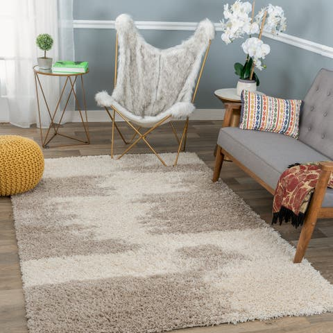 Contemporary Transitional Abstract Shag Area Rug