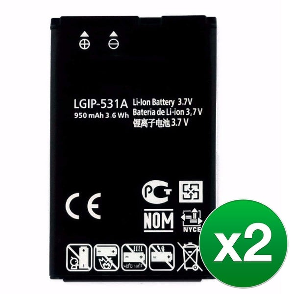 Replacement LG LGIP-531A Battery For A110 / A133 / A170 Phone Models (2 Pack)