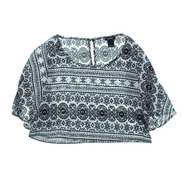 Stoosh Womens Juniors Crop Top Pattern Flutter Sleeves