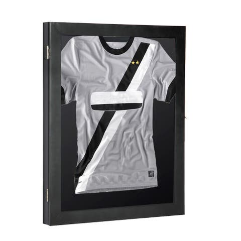 """HomCom 28"""" x 35"""" Memorabilia / Jersey Display Case Shadow Box - Black"""