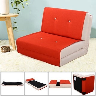 Costway Fold Down Chair Flip Out Lounger Convertible Sleeper Bed Couch Game  Dorm Orange
