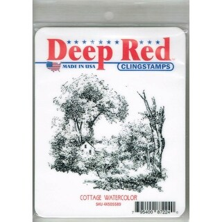 Deep Red Stamps Cottage Watercolor Rubber Cling Stamp - 3 x 3