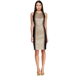 Carmen Marc Valvo Beaded Color Blocked Sheath Cocktail Evening Dress - 4