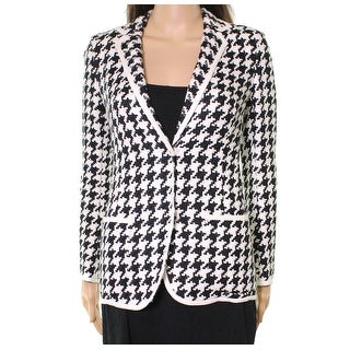 Akris NEW Black White Womens Size 2 Houndstooth Contrast-Trim Jacket