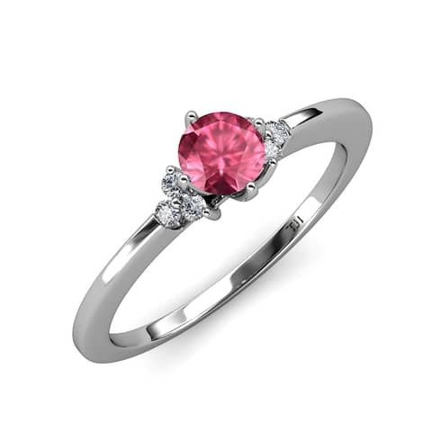 TriJewels Pink Tourmaline Diamond 7/8 ctw Engagement Ring 14K Gold