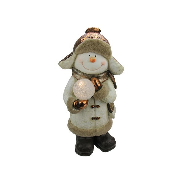 "21"" Battery Operated LED Lighted Snowman with Snowball Christmas Table Top Decoration"