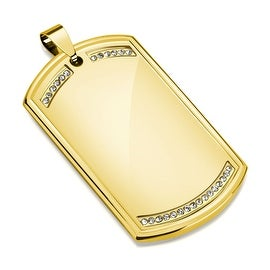 Paved Clear CZ Gold IP Stainless Steel Dog Tag Pendant (30.5 mm Width)