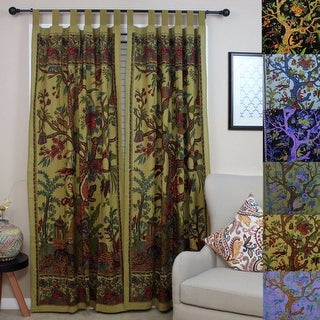 Handmade 100% Cotton Tree of Life Tab Top Curtain Drape Panel - 8 Color options - Black Gold Blue Purple Tan - 44 x 88 inches