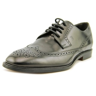 Tod's Derby Bucature George Men Wingtip Toe Leather Black Oxford