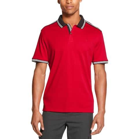 DKNY Mens Big & Tall Polo Shirt Cotton Striped - Salsa - 2XL