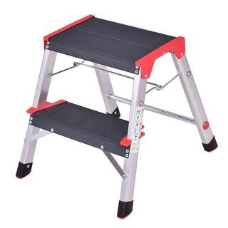 Gymax Folding Aluminum Lightweight Ladder 2 Step Non-Slip Platform Stool - as pic