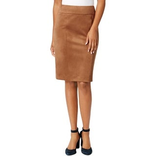 Tommy Hilfiger Womens Pencil Skirt Faux Suede Solid