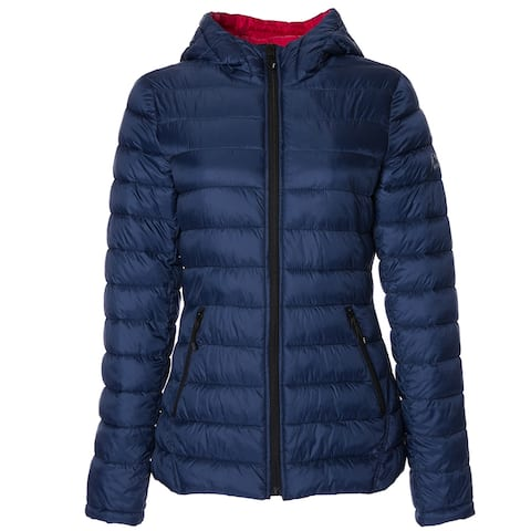 HFX Womens Lightweight Packable Jacket, Marine Navy Red S