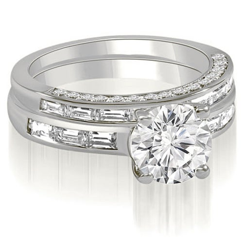 2.13 cttw. 14K White Gold Round And Baguette Cut Diamond Bridal Set