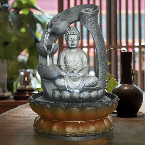 Sitting Buddha Fountain LED Indoor Table Waterfall Fountain Home Decor