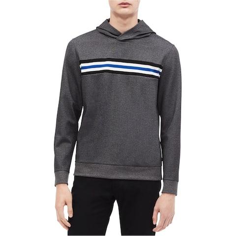Calvin Klein Mens Striped Hoodie Sweatshirt, Grey, X-Large