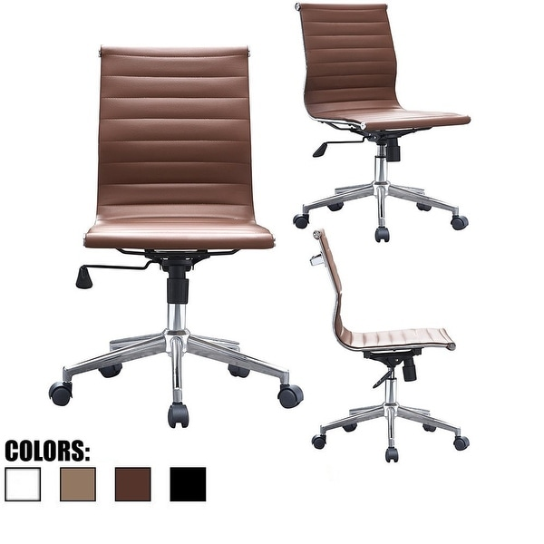 2xhome Brown Sleek Swivel Modern Style Adjustable PU Leather Office Chair Mid-Back Armless Ribbed Chair